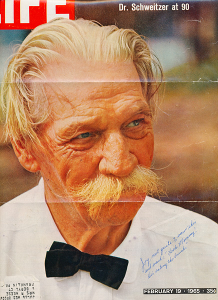 scan of cover of Live magazine featuring Dr. Schweitzer with a bushy mustache