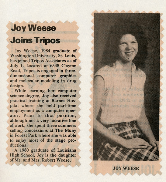 "newspaper clipping of ""Joy Weese Joins Tripos"""