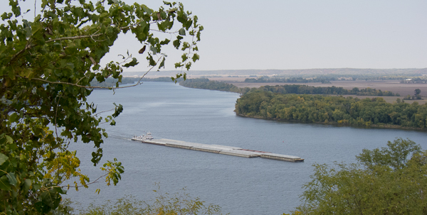 photo of barge on Mississippi River, looking down from Riverview Cemetery, Louisiana, Missouri