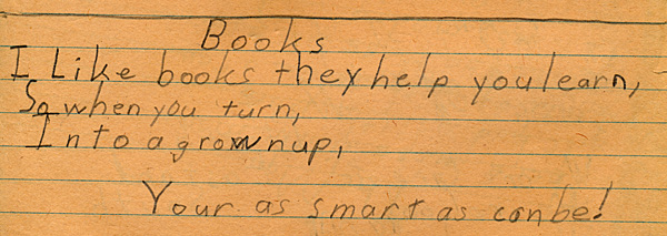 Books, a poem I wrote in fourth grade