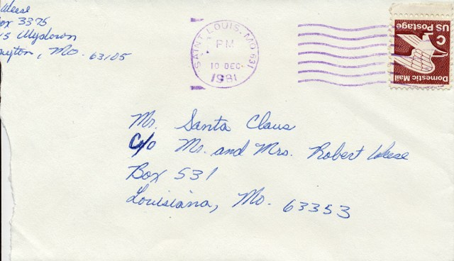 scan of the envelope containing my Santa Letter from college at age 19