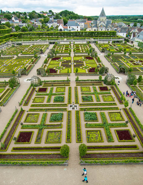 view of Villandry potager from 12th century tower