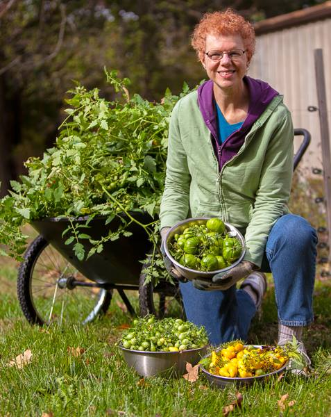 Photo of woman with green and yellow tomatoes