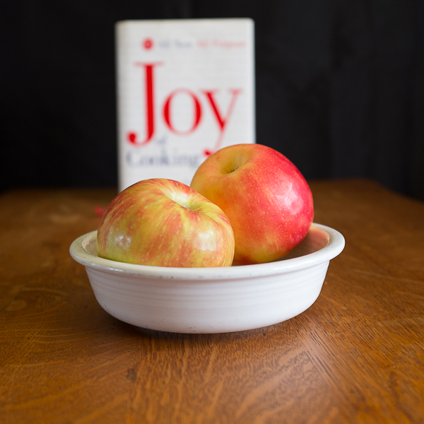 photo of two apples and The Joy of Cooking cookbook