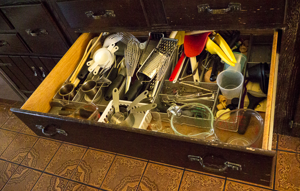 Jumbled kitchen drawer