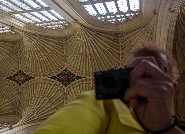 Magnifying mirror in Bath Abbey