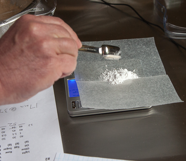 Baking soda on a digital scale