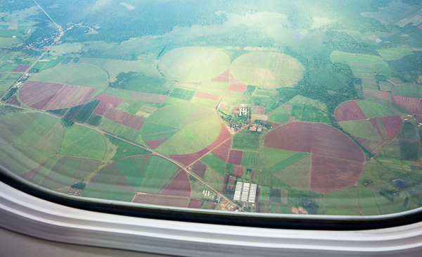 View of Cuban farm fields from the plane