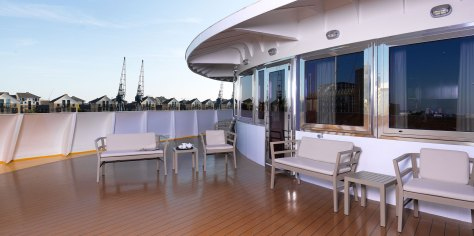 The sundeck on the prow of the London Sunborn Yacht Hotel