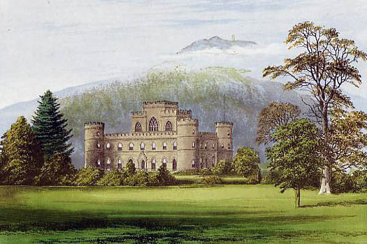 A lithograph of Inveraray Castle, 1880.