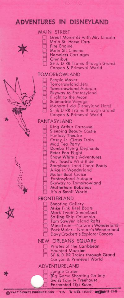 Inside back of Disneyland ticket book