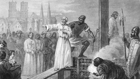 A templomos rend utolsó nagymesterét, Jacques de Molay-t megégetik máglyán 1314-ben Párizsban