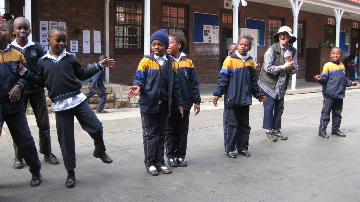 Bertrams Junior School students during a drama/performance workshop, also pictured is Toni Morkel. Photo: Baeletsi Tsatsi