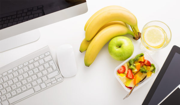 Healthy food on an office desk
