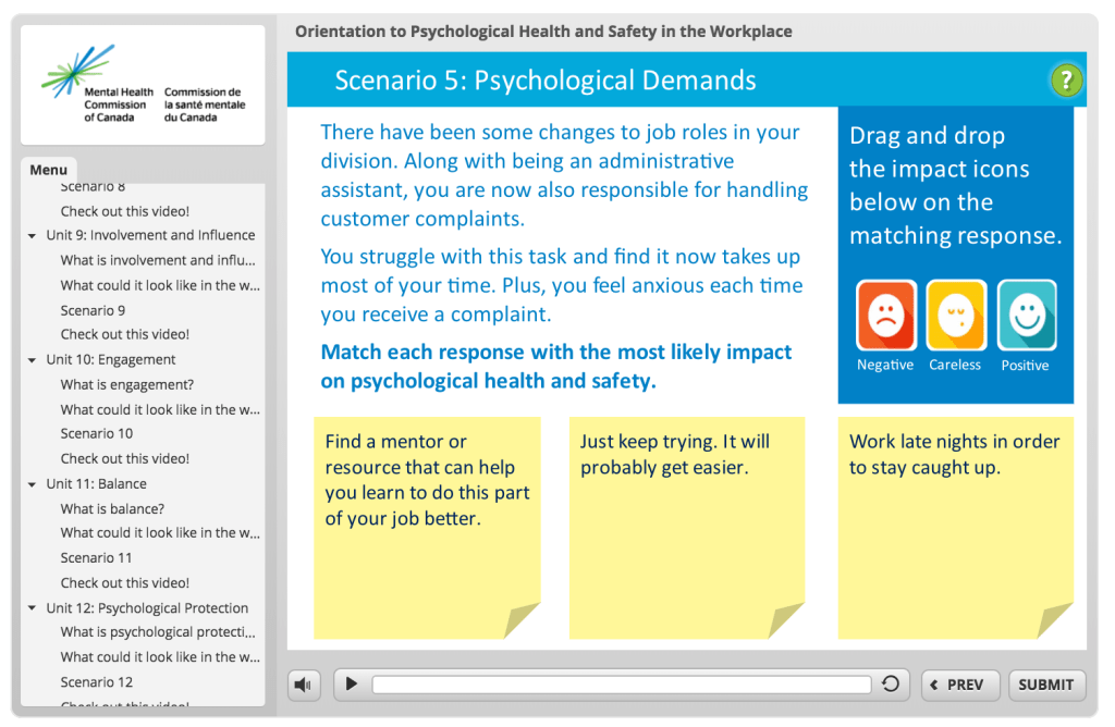 Screenshot for psychosocial risk factor training e-course
