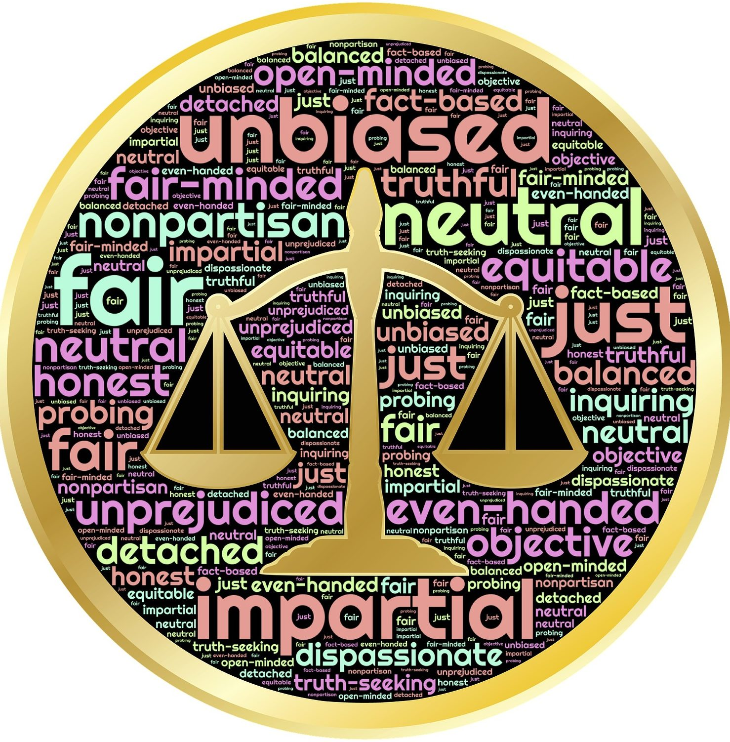 wordcloud-- fair unbiased neutral impartial just nonpartisan