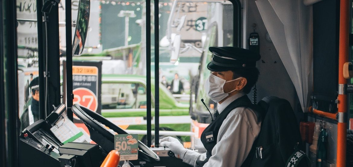 Bus driver during COVID-19 (coronavirus) epidemic
