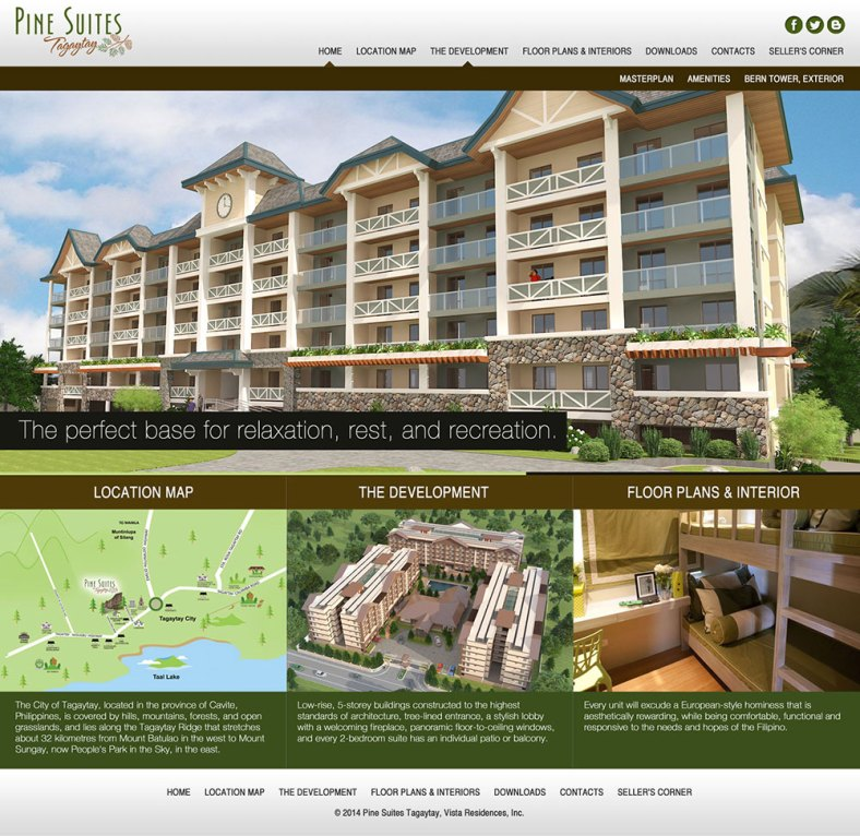Pine Suites Tagaytay Website - Home Page