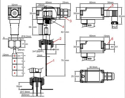 Paddle flow switches, reed switch contact, built-in 16A
