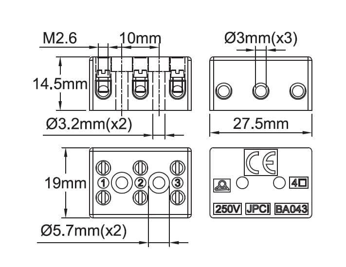 Steatite connection blocks, 250V range With pressure
