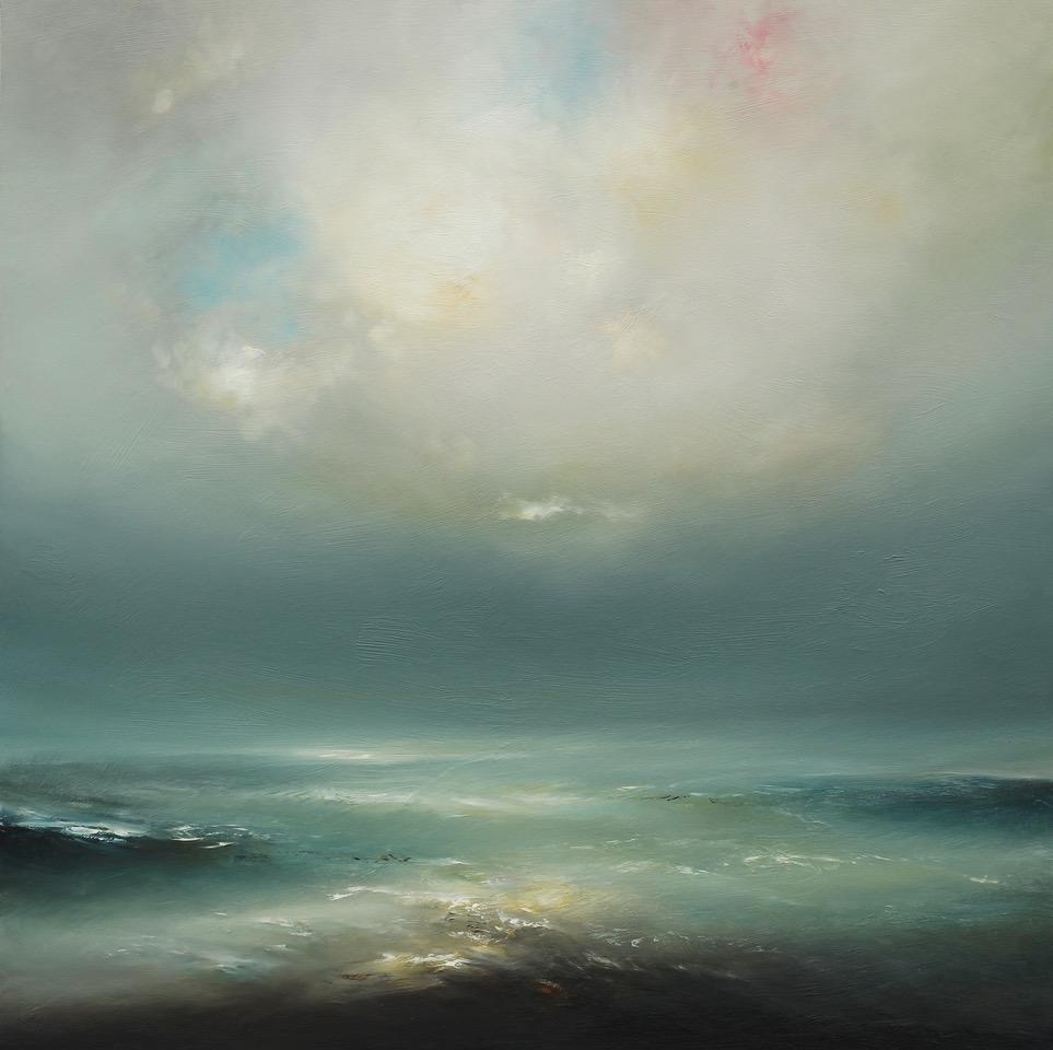Big Cloud Oil on Board Framed 97 x 97 cm