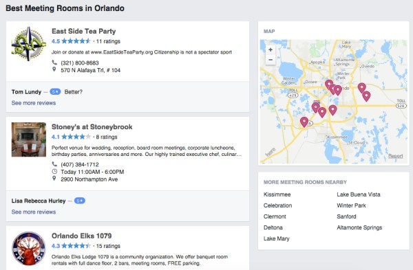 Facebook Services - List of businesses