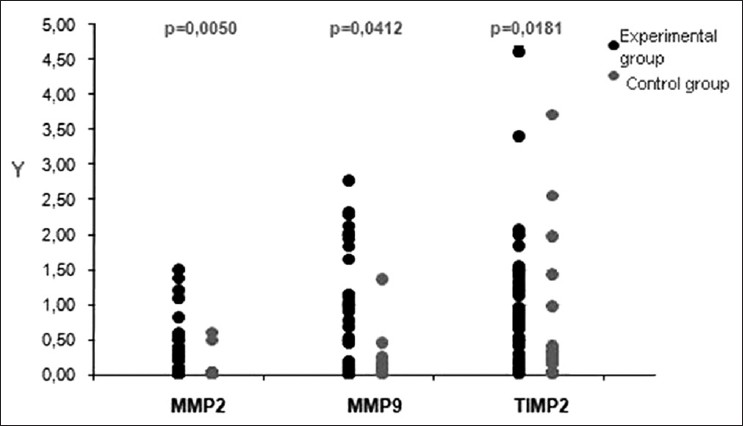 Transcription activity of MMP-2 and MMP-9