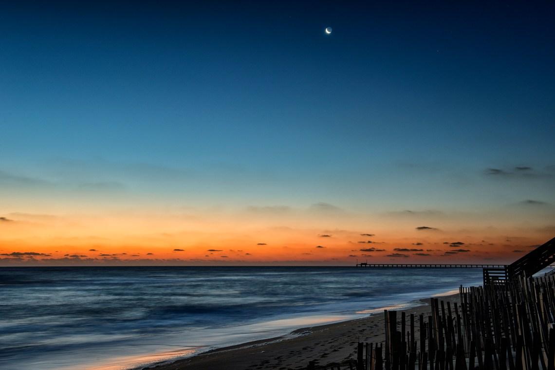 Morning Moon over Duck Pier