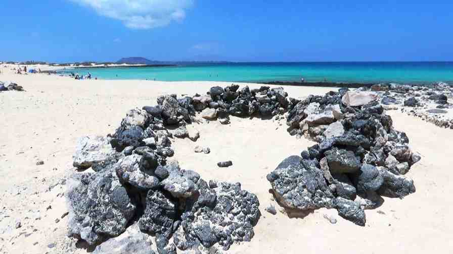 Stone circle on a Corralejo beach