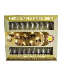 Clear Photo Clip Peg - 20 String Lights