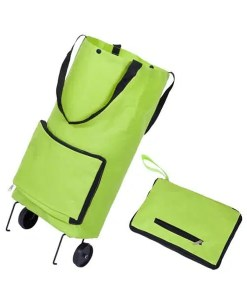 Portable Shopping Tote Bag with Wheels Expanded and Folded