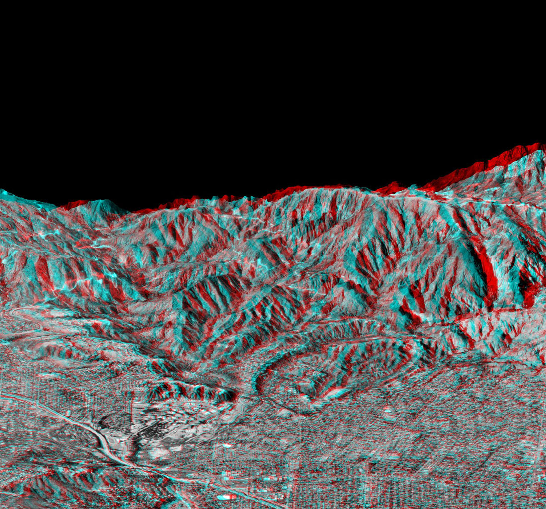 Space Images Anaglyph Of Perspective View With Aerial