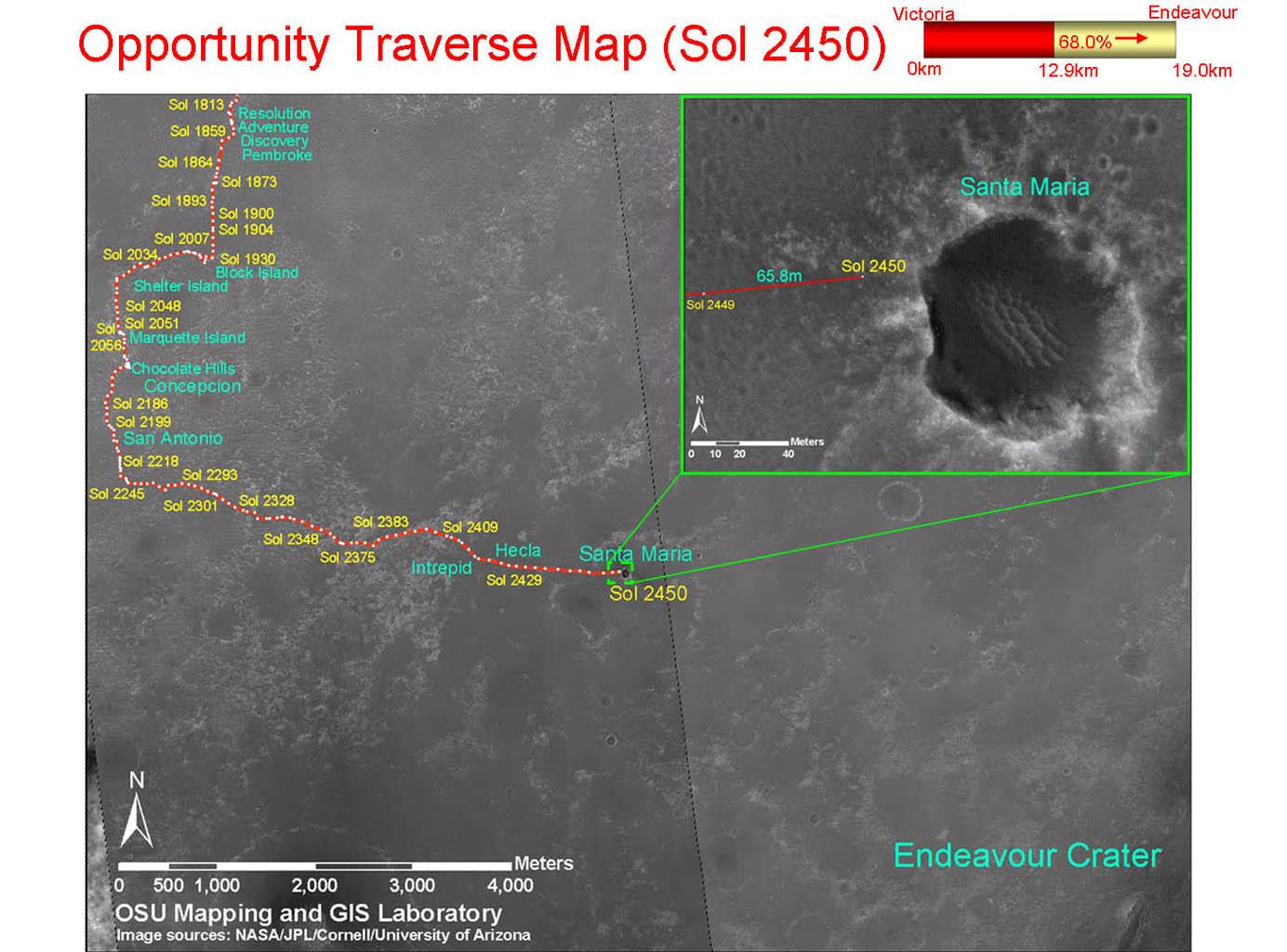 Space Images  Opportunity Traverse Map Sol 2450