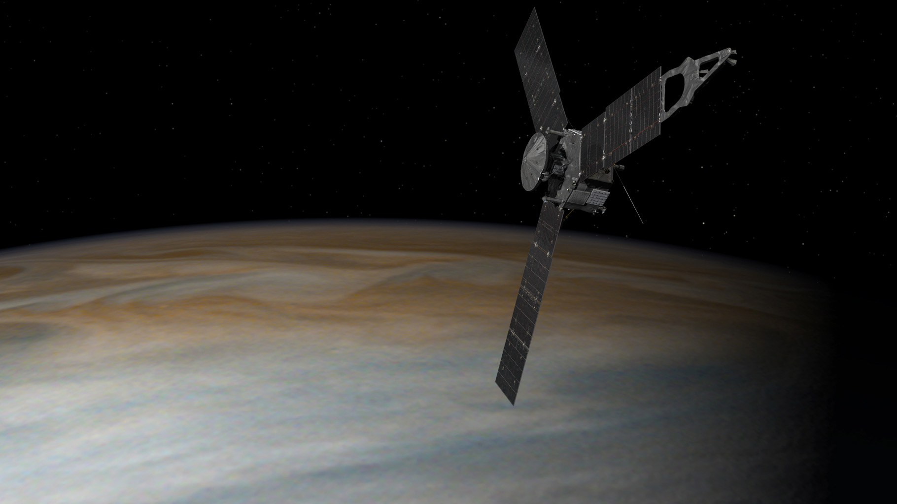 This illustration depicts NASA's Juno spacecraft in orbit above Jupiter. From its unique polar orbit, Juno will repeatedly dive between the planet and its intense belts of charged particle radiation, coming only about 3,000 miles (5,000 kilometers) from the cloud tops at closest approach.