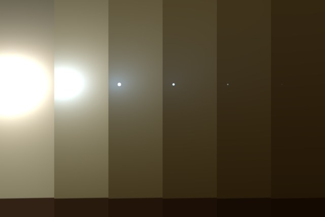 This series of images shows simulated views of a darkening Martian sky blotting out the Sun from NASA's Opportunity rover's point of view, with the right side simulating Opportunity's current view in the global dust storm (June 2018). Credits: NASA/JPL-Caltech/TAMU