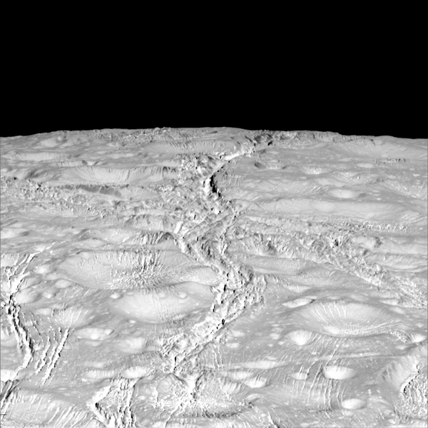 high-resolution Cassini images show a landscape of stark contrasts. Thin cracks cross over the pole -- the northernmost extent of a global system of such fractures. Before this Cassini flyby, scientists did not know if the fractures extended so far north on Enceladus.