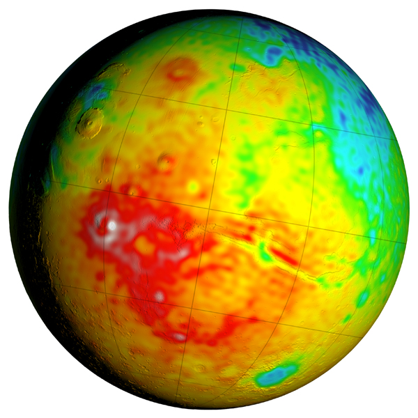This Mars map shows variations in thickness of the planet's crust, the relatively thin surface layer over the interior mantle of the planet. It shows unprecedented detail derived from new mapping of variations in Mars' gravitational pull on orbiters.