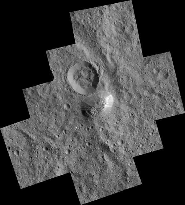 Ceres' mysterious mountain Ahuna Mons is seen in this mosaic of images from NASA's Dawn spacecraft. Dawn took these images from its low-altitude mapping orbit, 240 miles (385 kilometers) above the surface, in December 2015. The resolution of the component images is 120 feet (35 meters) per pixel.