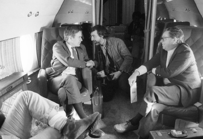 Flying over New Hempshire with George Bush Sr. Campaining on January 22 1980 on assignemnt by NY Times magazine.