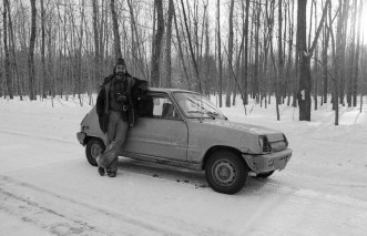 St Louis/St Jude area, Near Montreal, PQ, Canada. Febrary 13 1978. JP Laffont and his Renault 5 during pre-election province election campain.