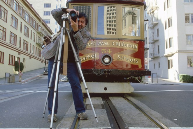 San Francisco, California - January 1986. JP Laffont taking pictures of San Francisco for the anniversary of the 1906 big earthquake. Photograph courtesy of Phil Schermeister.