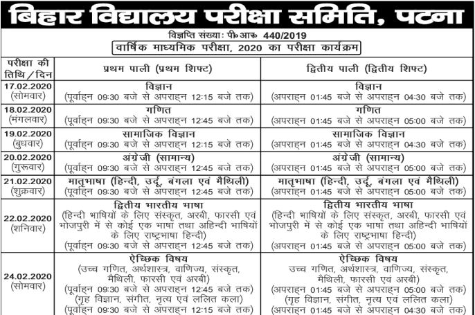 Bseb matric exam routine 2020
