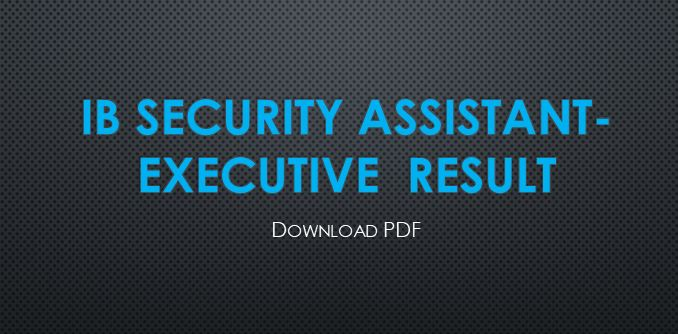 IB Security Assistant Executive Result