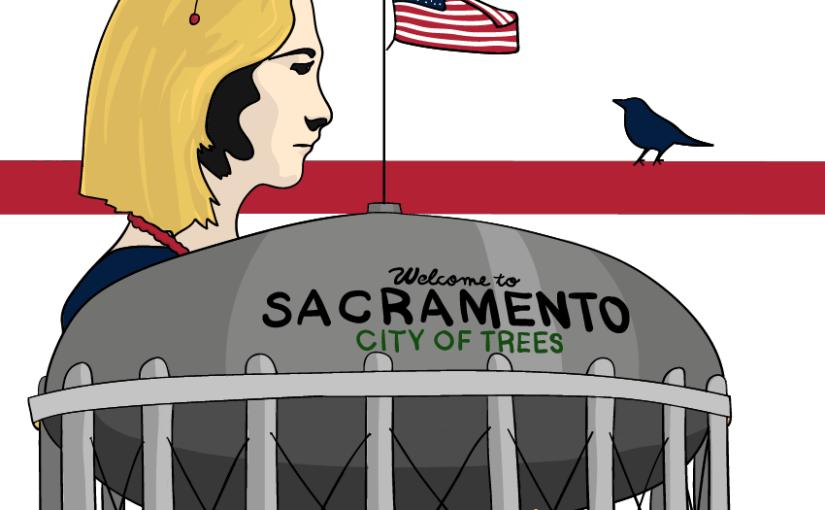 Torre de agua de sacramento y lady bird de perfil