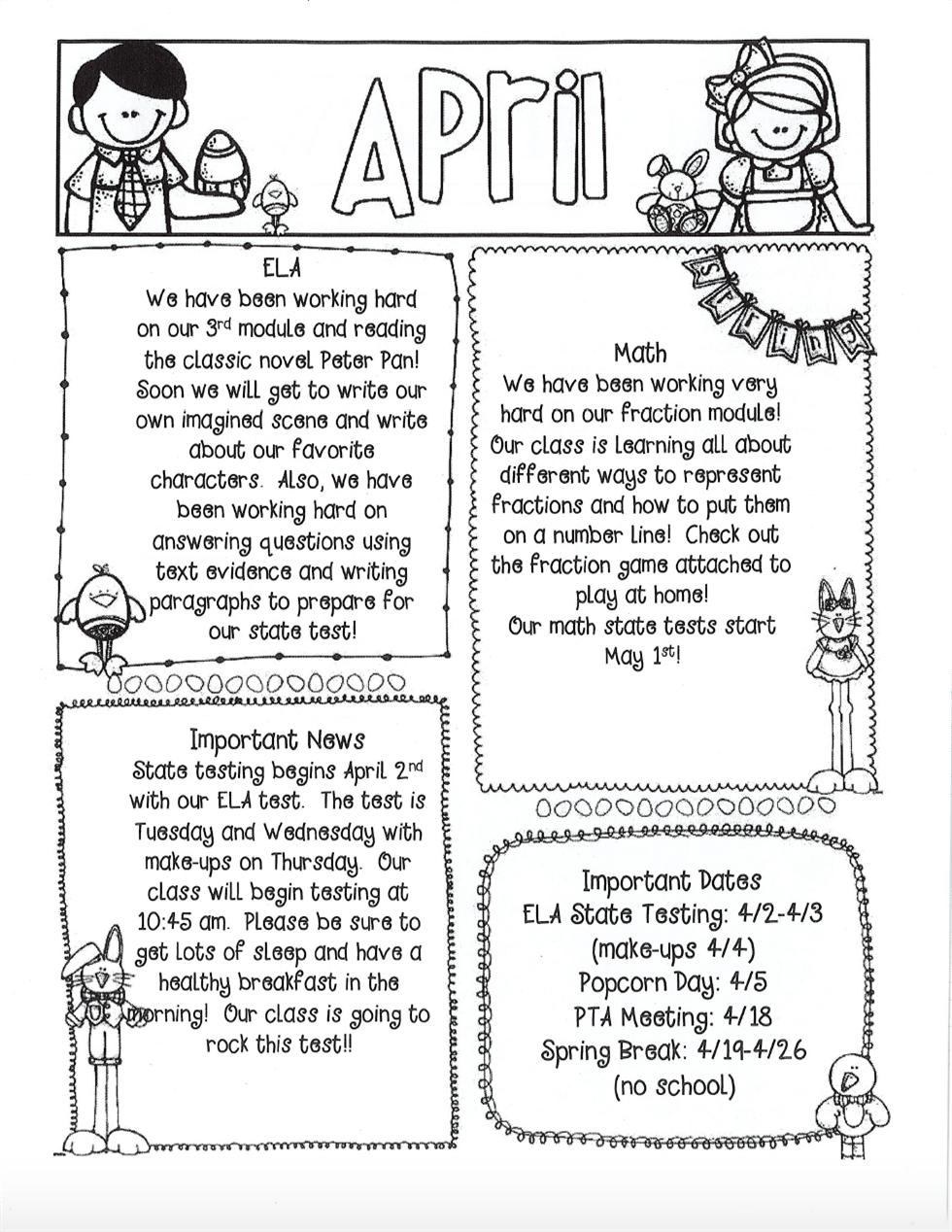 Rinaldo, Kali / April Newsletter