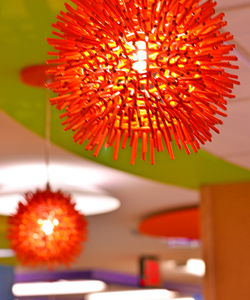 Decorative Red Lights within a healthcare facility to improve the Environment of Care