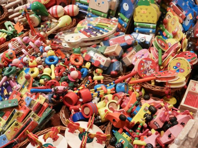 A big pile of brightly colored toys.