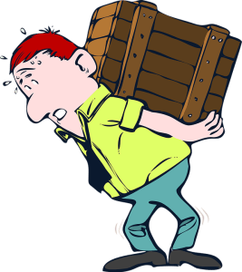 Man carrying a crate. - doing everything on your own won't save you any money on moving