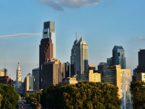 Downtown Philadelphia skyline, one of the places where people are moving from NYC to Philly from.