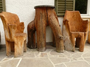 Artisanal pieces of wooden furniture.